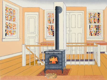 New England Interior with Woodstove